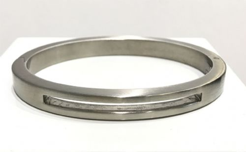 Men's Stainless Steel Cut Out Centre Hinged Bangle